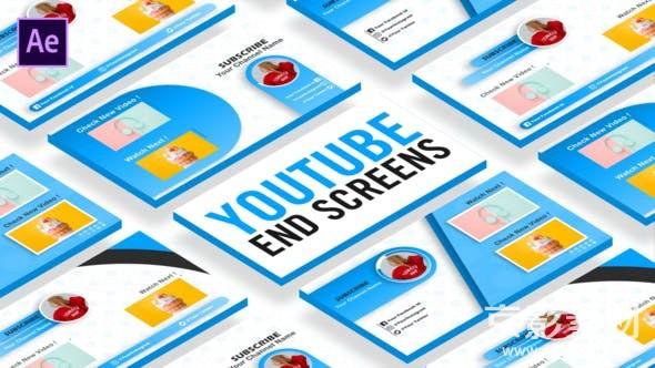AE模板-播主视频结尾展示片头Youtube EndScreen