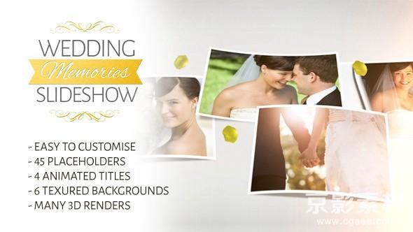 AE模板-唯美婚礼记忆照片幻灯片展示片头 Wedding Memories Slideshow