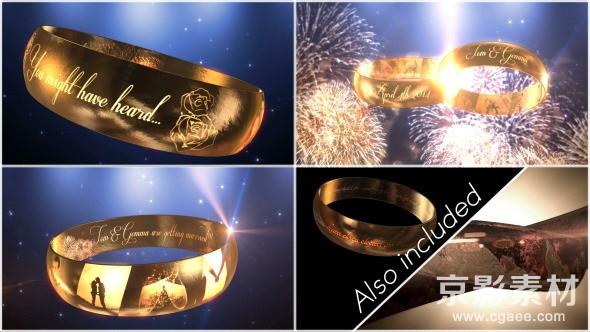 AE模板-婚礼邀请E3D戒指片头 Wedding Ring Invitation–E3D