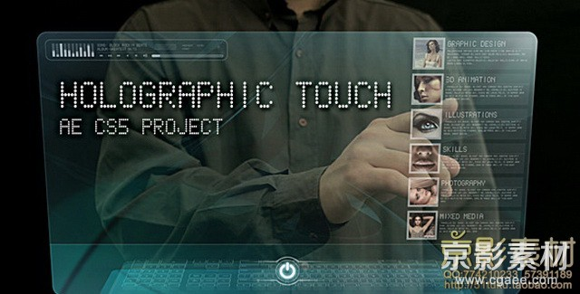 AE模板-科技风格全息触摸屏展示 Holographic touch