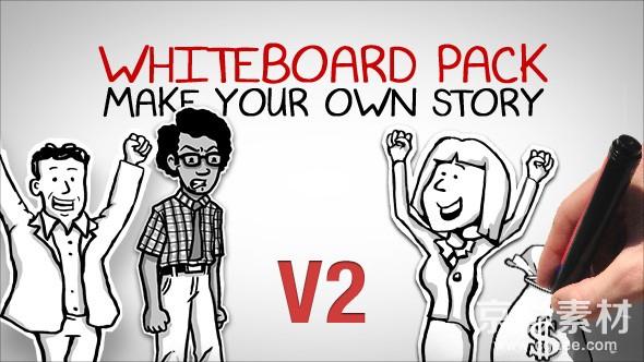 AE模板-白板手绘故事版动画片头 Whiteboard Pack