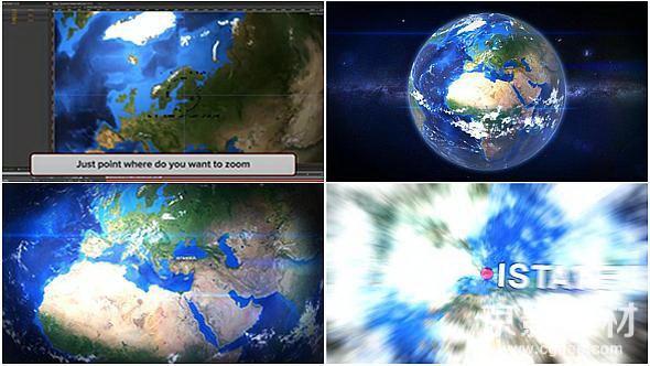 AE模板-地球自定义俯冲片头 Earth Zoom Customize