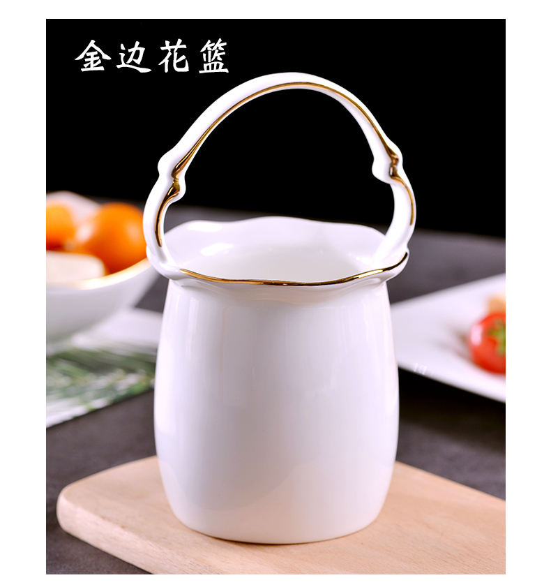 Jingdezhen ceramics craft gold 】 【 creative ipads porcelain tableware cage swan tablespoons of flower basket put small spoon