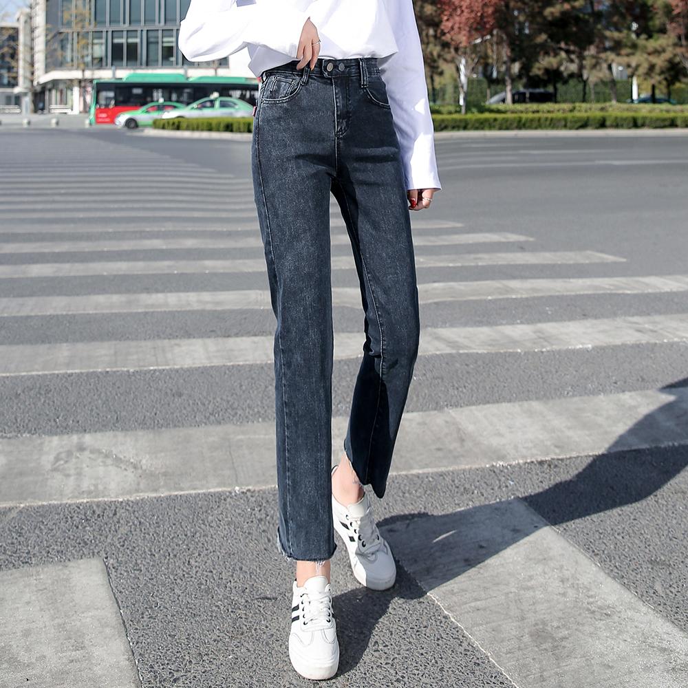 黑色牛仔裤女直筒宽松2020春季高腰显瘦弹力毛边九分阔腿裤