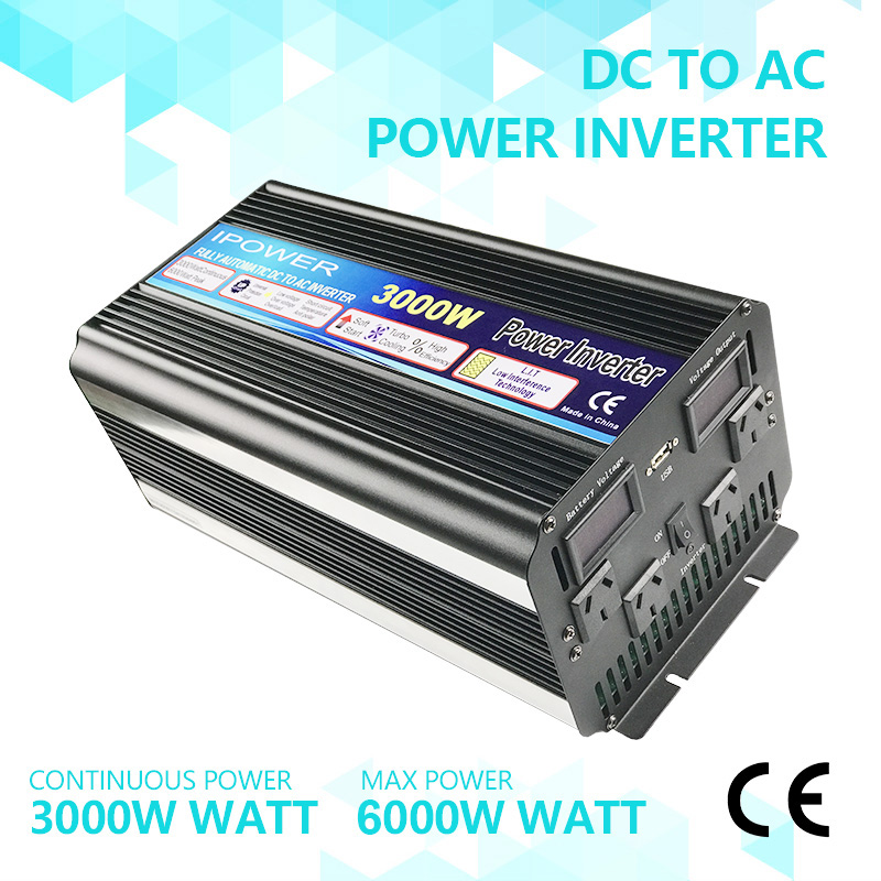 3000W (6000W Peak) POWER INVERTER DC12V-AC240V WITH SOFT START, VOLTAGE DISPLAY