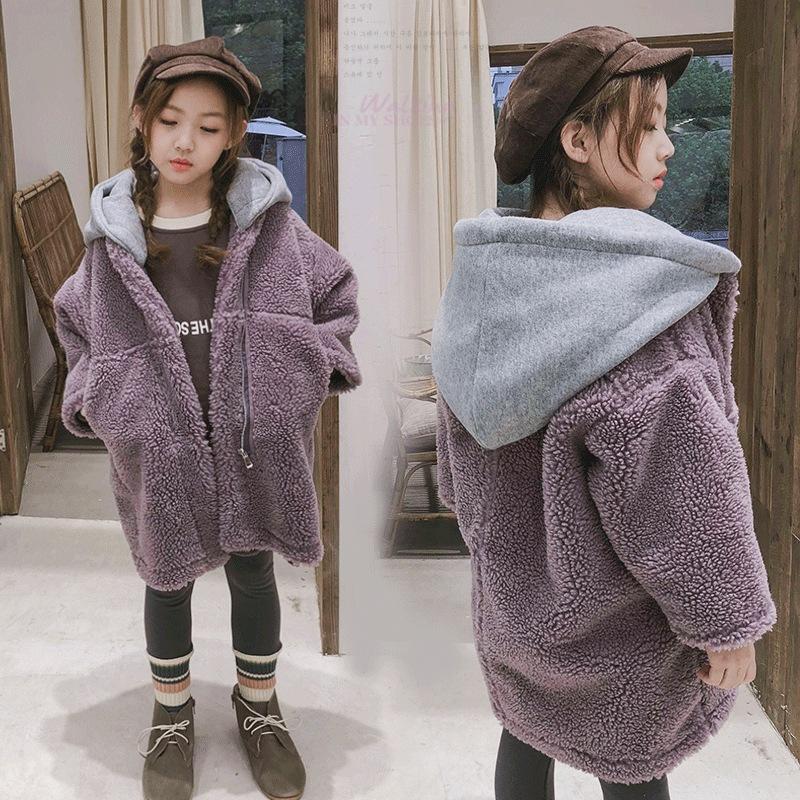 童装2019冬装新款大衣女童中大童大帽子长款大颗粒毛毛绒外套棉衣