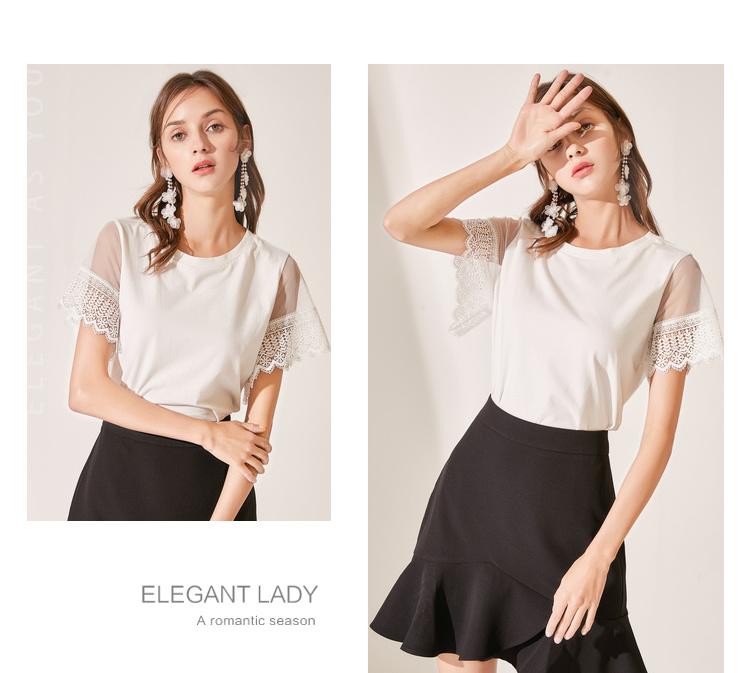 秋水伊人T恤2019夏装新款女装纯色圆领短袖网纱蕾丝直筒洋气上衣