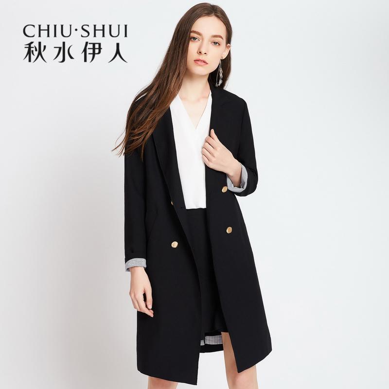 Qiu Shui Yiren 2018 mùa xuân mới phù hợp với cổ áo thẳng hai khóa dài đoạn nhỏ phù hợp với phù hợp với áo khoác nữ