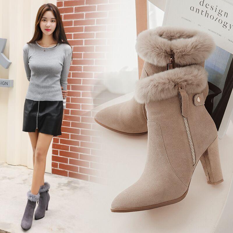 诗拉曼真皮高跟女靴兔毛保暖雪地靴