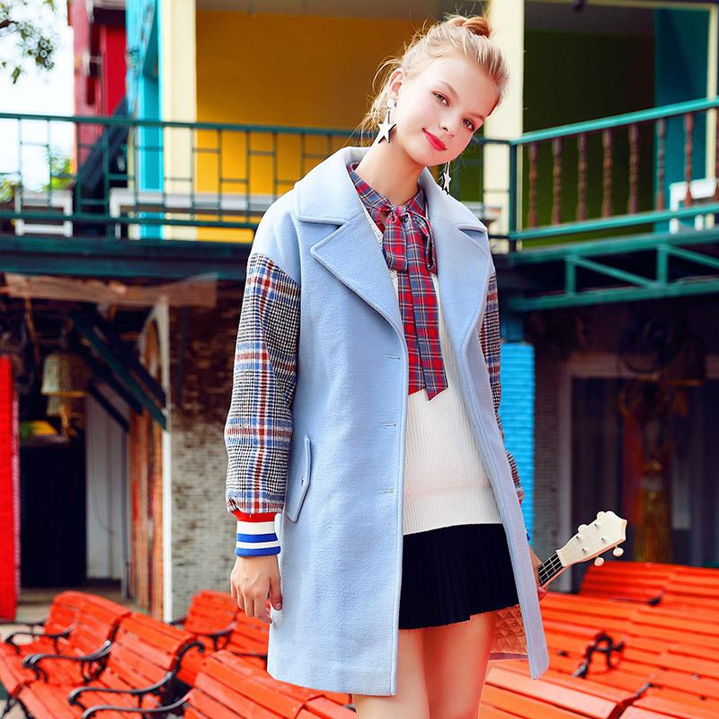 小清新毛呢外套女生冬季2018新款韩版中长款夹棉深秋加厚呢子大衣