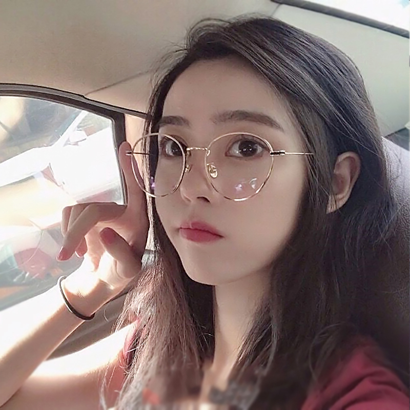 70e2ddddef2b Retro pearl glasses frame female Korean version of the tide big round face  literary with myopia