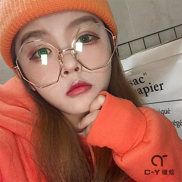 c28ed475f7c Net red with the octagonal metal glasses frame female Korean version of the  tide retro round face flat mirror large frame plain glasses frame