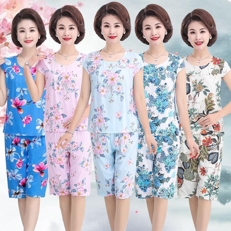 夏季中老年人女装棉绸短袖两件套妈妈装印花奶奶套装夏装上衣裤子