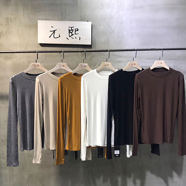 Yuan-xi base shirt With full neck and long sleeves for autumn/winter 2020 Black top is versatile