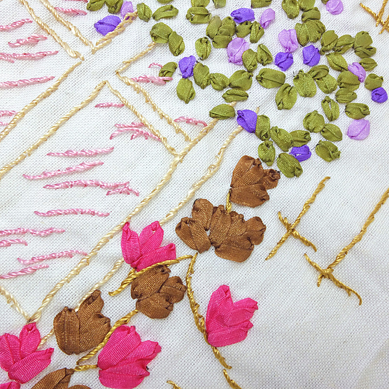 4mmB group 100co high-quality diy embroidery simulation silk nylon woven cross-stitch flower material manual set.