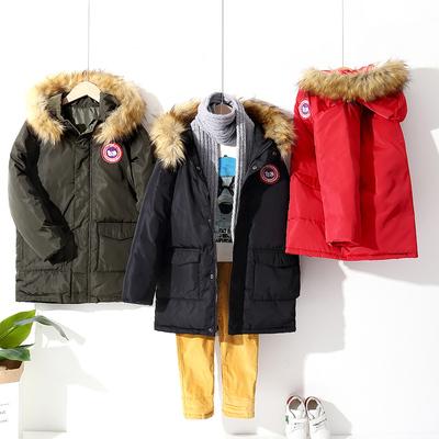 新款男女童羽绒服儿童中长款加厚外套中大童小孩连帽外穿冬季童装