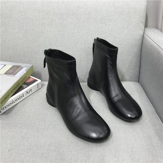 After breaking yards treatment of low 2019 new leather boots round bare fashion boots with comfortable leather zipper female boots