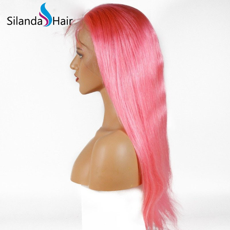 Silanda Hair Fashion Pure Pink Straight Brazilian Remy Human Hair Lace Front Full Lace Wigs