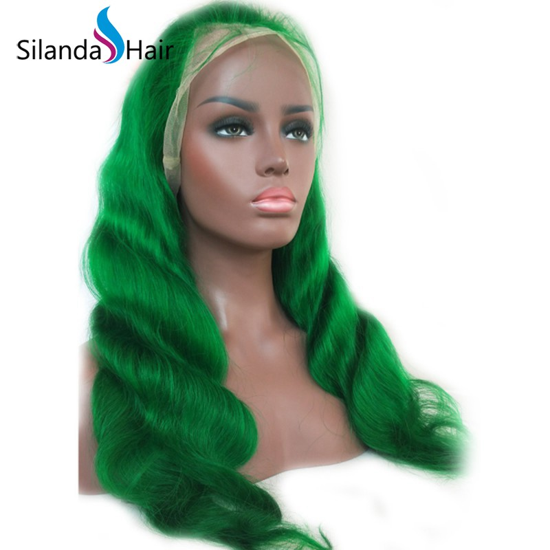 Silanda Hair Nice Green Body Wave Brazilian Remy Human Hair Lace Front Full Lace Wigs