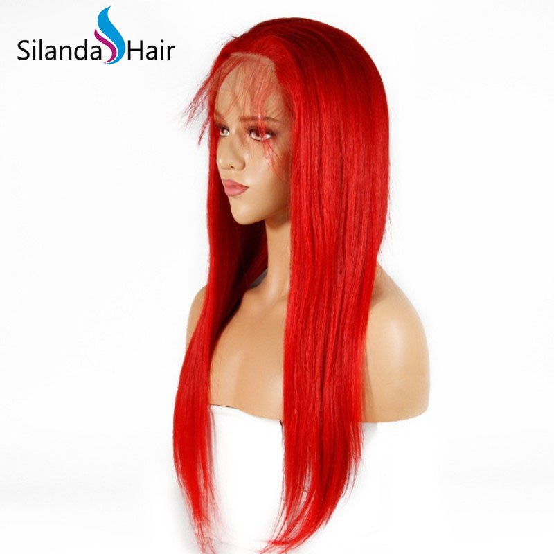 Silanda Hair Good Quality Pure Red Straight Brazilian Remy Human Hair Lace Front Full Lace Wigs