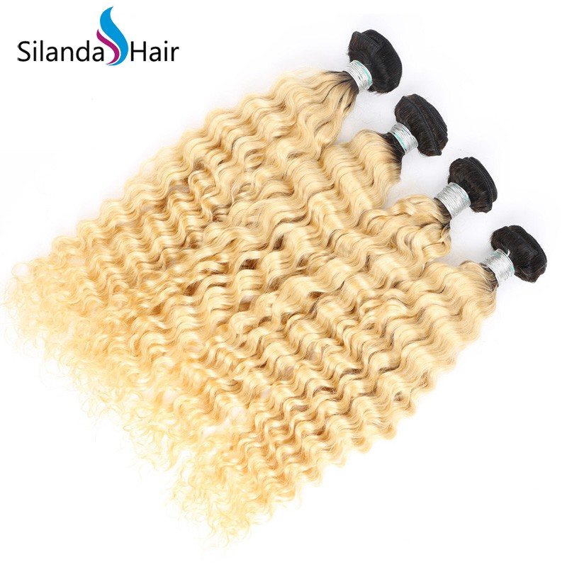 Silanda #T 1B/613 Deep Wave Bundles Brazilian Remy Human Hair 3 Bundles/Pack
