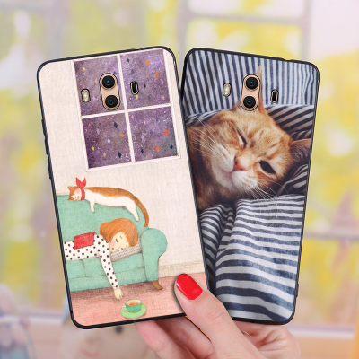Huawei mate10 pro Mobile Shell mate9 All-inclusive Soft Case 8 Silicone Anti-fall Couple Sleeping Cat Cute Cute