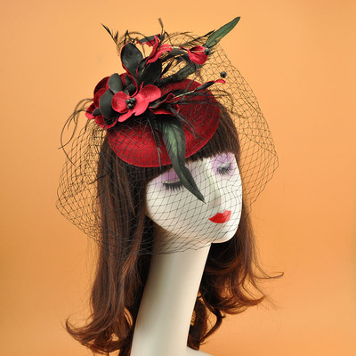 Wedding Party Hats Wine red evening dress hat and headdress