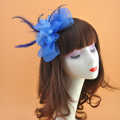 bowknot Headdress hat flower feather headdress hat girls stage hat accessories