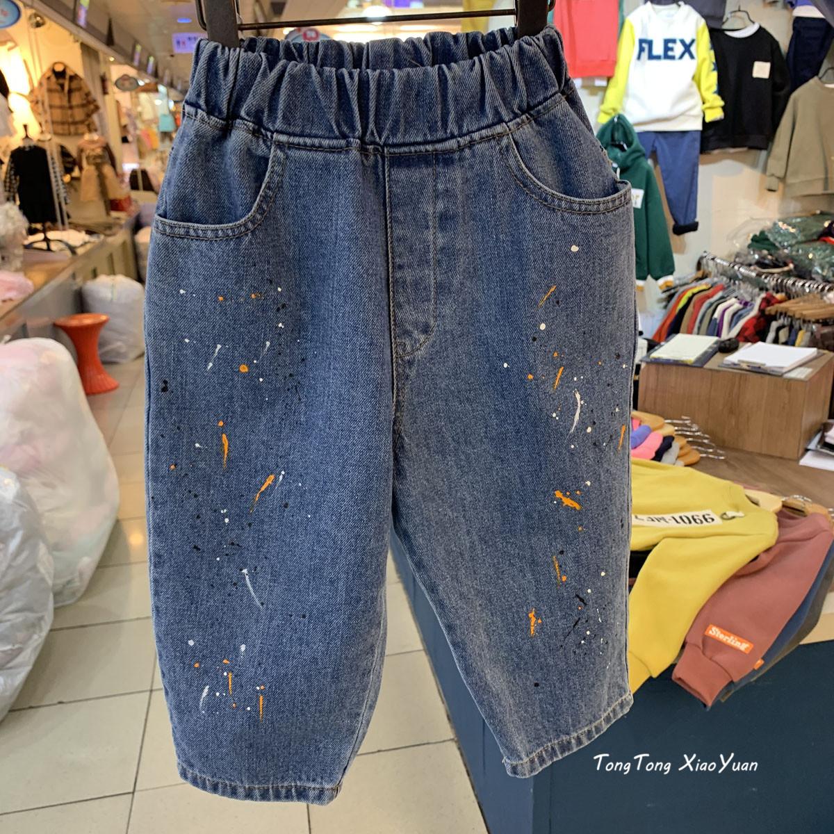 韩国男童2020春款童装儿童中大童喷漆新品女童牛仔裤10218
