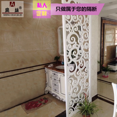 PVC carved plate partition density board hollow ceiling solid wood plug living room TV background wall porch screen