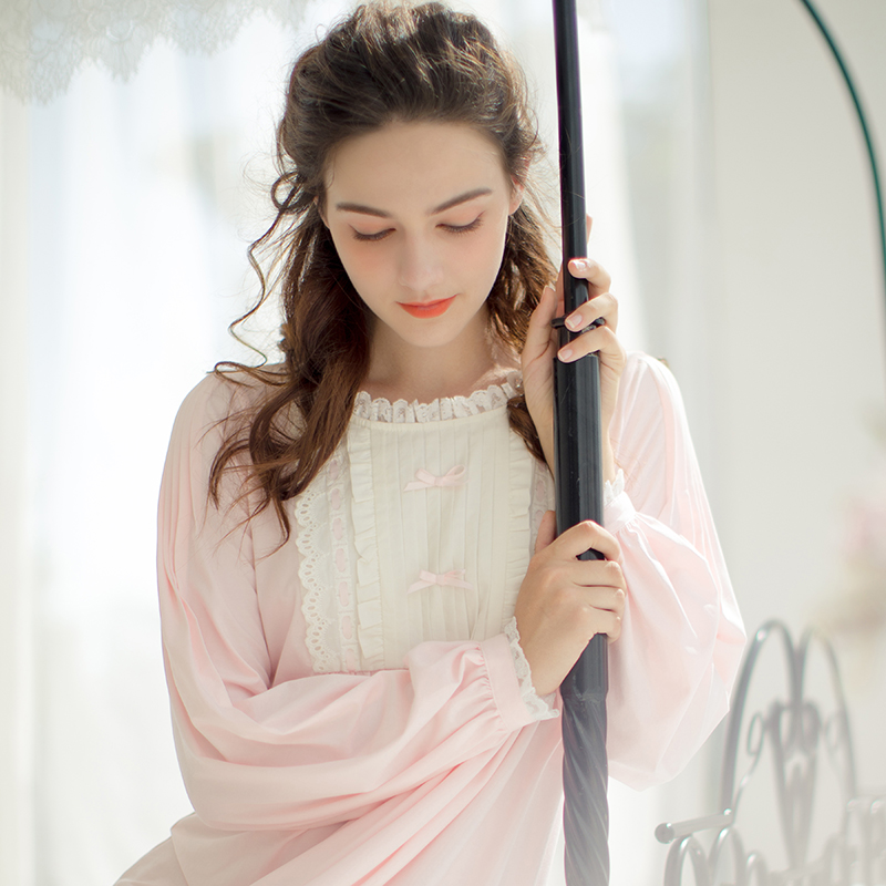 4ef9c55ccf Dust Hee autumn sweet cute long knit cotton nightdress retro long-sleeved  lace lace pajamas