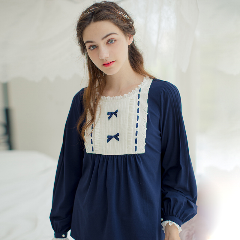 f6478f4608 Dust Hee autumn retro Palace knit cotton long-sleeved pajamas cute sweet  princess lace lace