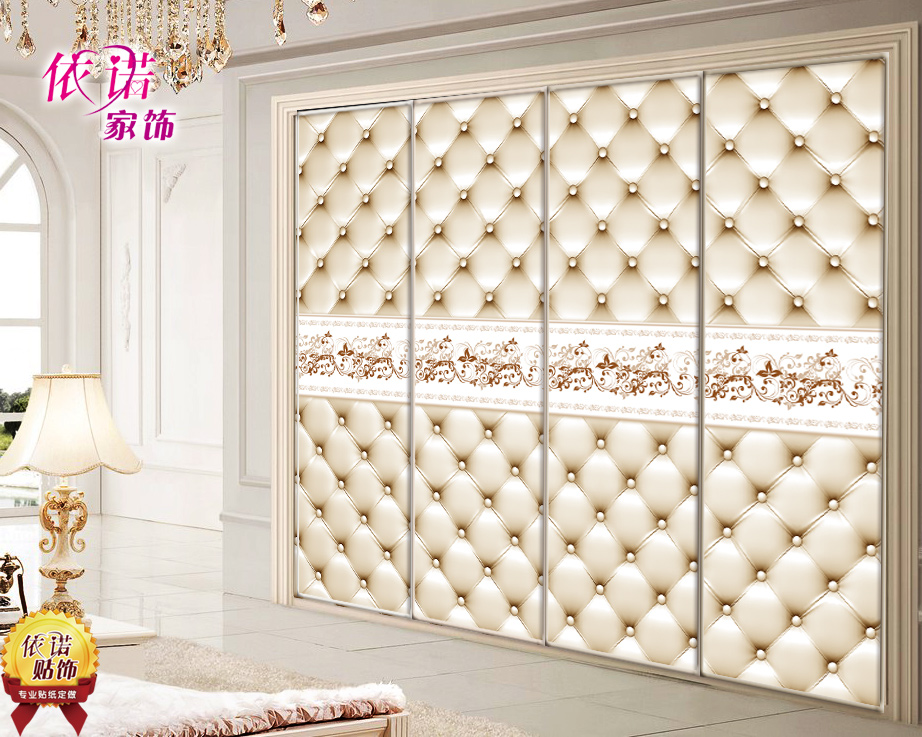 European Decorative Stickers Wardrobe Door To Door Glass Pastes Wardrobe Renovation Cover Stickers Are Made Of Imitation Soft Bag Stickers1