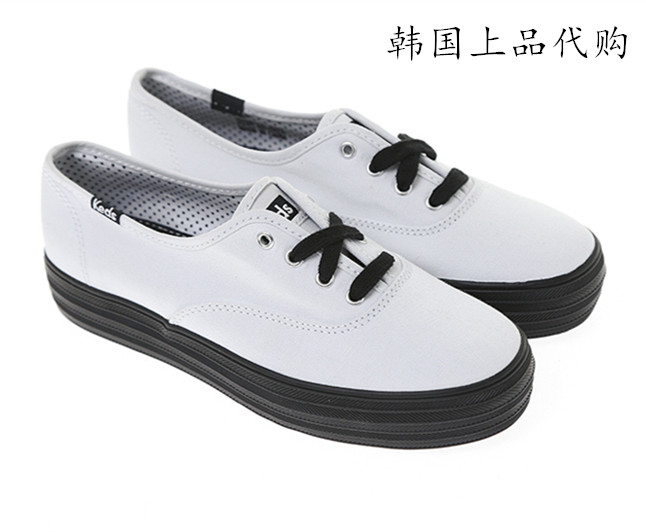 8060095a987 Authentic Keds canvas shoes women thick bottom white shoes black bottom  increase loose cake at the end of the new comfortable wild Korea purchasing