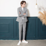 CSO Spring and Autumn Men's Gray Small Suit Suit Trend Casual Korean Style Double Breasted Handsome Slim Suit Groom