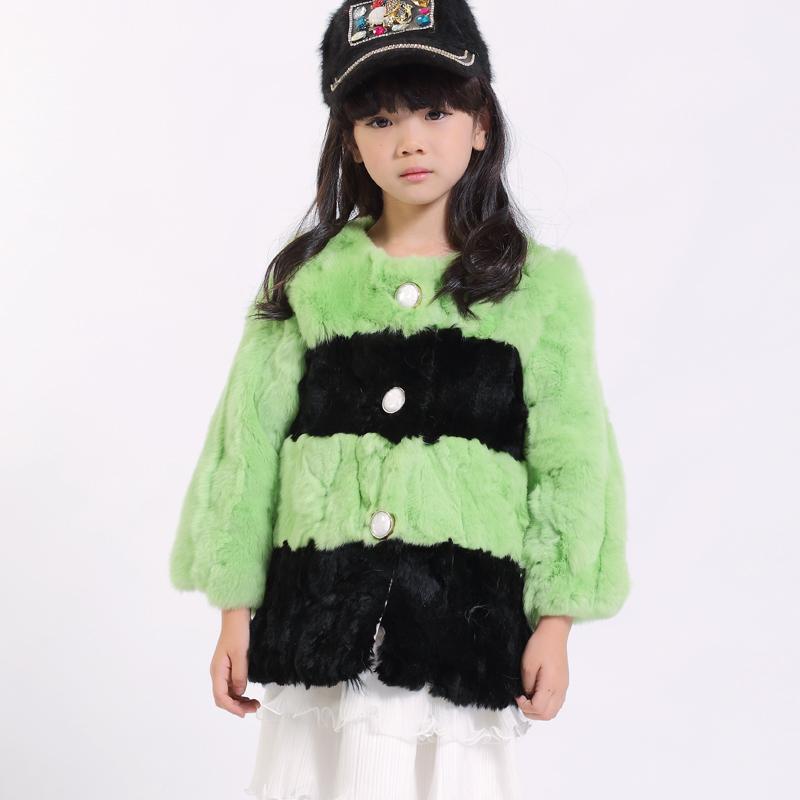 冬季新款童装皮草 韩版可爱儿童条纹拼色 獭兔毛女童皮草大衣外套
