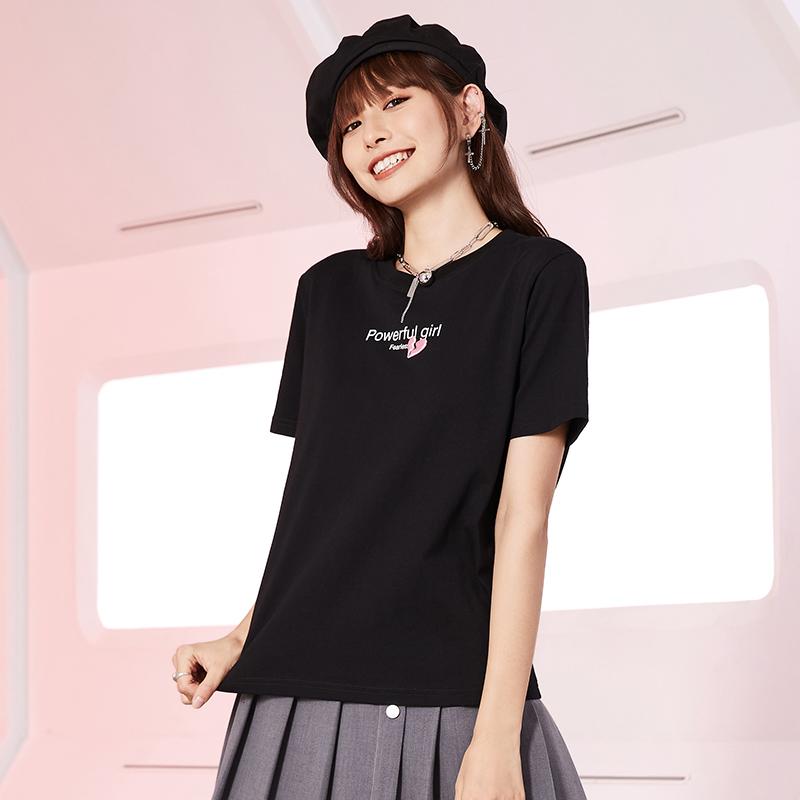 A21好运别致t恤女学生逢考必过短袖宽松上衣夏季薄款内搭2021新款