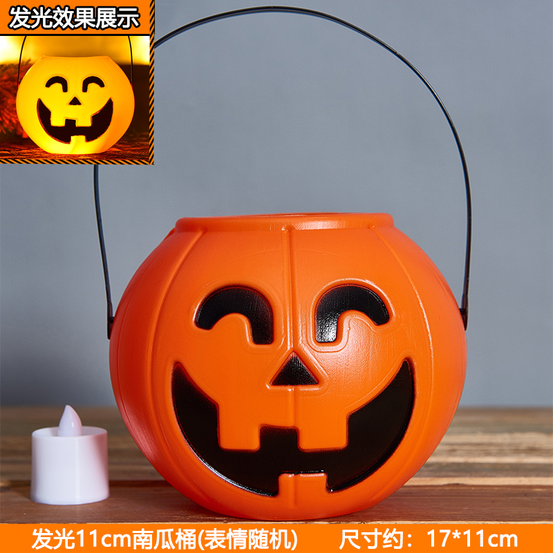 11cm Pumpkin Bucket + Candle Yellow