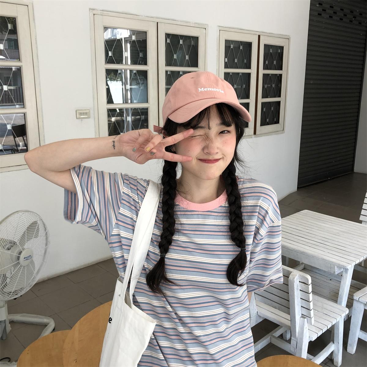 陆小团团 彩虹条纹T恤宽松百搭韩版彩色短袖上衣休闲衫女夏季潮