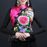 Ethnic wind original women's satin embroidery peony venelet short embroidery Chinese style retro dish buckle Tang suit summer