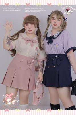 taobao agent Hard Candy Large Size Original Sanrio Joint Thai JK Uniform Fat mm Shirt Short Sleeve Korean Short Skirt Set