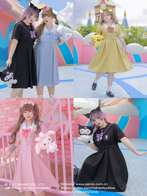 taobao agent Hard candy large size original Sanrio embroidery fat mm was thin jk uniform dress soft sister 200 catty Short-sleeved dress