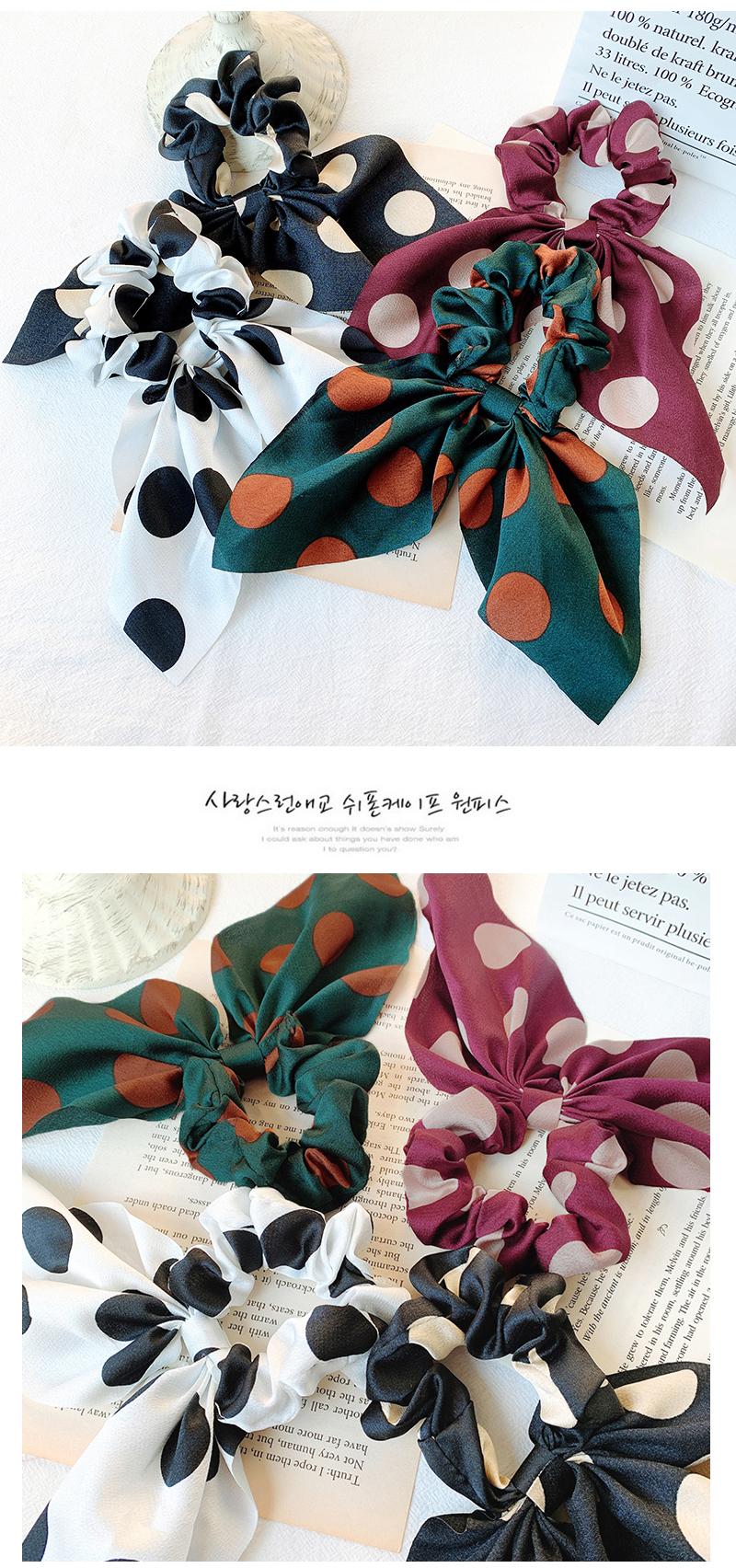 Big bow rubber band hair rope Korean sweet cute streamer cloth hair ring Korean head rope NHOF196032
