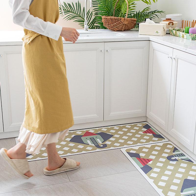 厨房地垫防水防油pvc塑料皮地垫家用入户垫耐脏防滑橡胶卧室长条