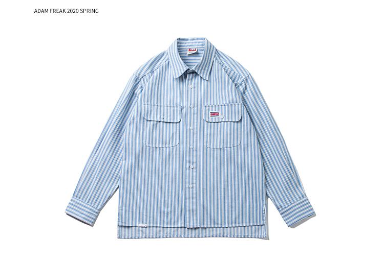 2020春美式学院风简约日系条纹宽松衬衫 WL08 F70