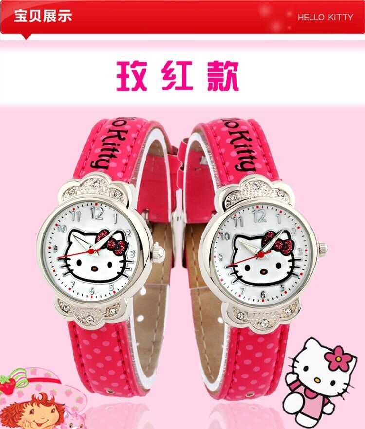 Animation Hello Kitty Magnifier Clock Wrist Hello Kitty Pink Gemstone With Diamonds Watches Children Electronic Watch Cosplay Costumes & Accessories