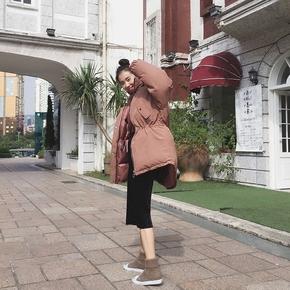冬季棉衣女短款韩版2017新款宽松棉袄学生面包服纯色连帽棉服外套
