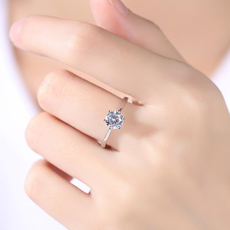 925 sterling silver diamond ring simulation diamond ring female ...