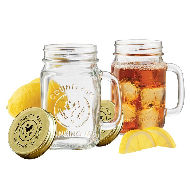 【2支】Libbey利比进口玻璃杯茶杯公鸡杯果汁杯梅森马克杯带盖勺_天猫超市优惠券