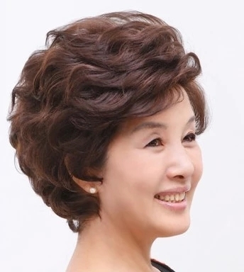 17 new wig short hair mother super simulation hair wig set middle-aged wig middle-aged ladies short hair sets